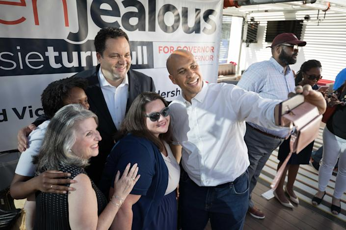 Booker with Maryland gubernatorial candidate Ben Jealous and others in June 2018. (Photo: Cheryl Diaz Meyer for the Washington Post via Getty Images)