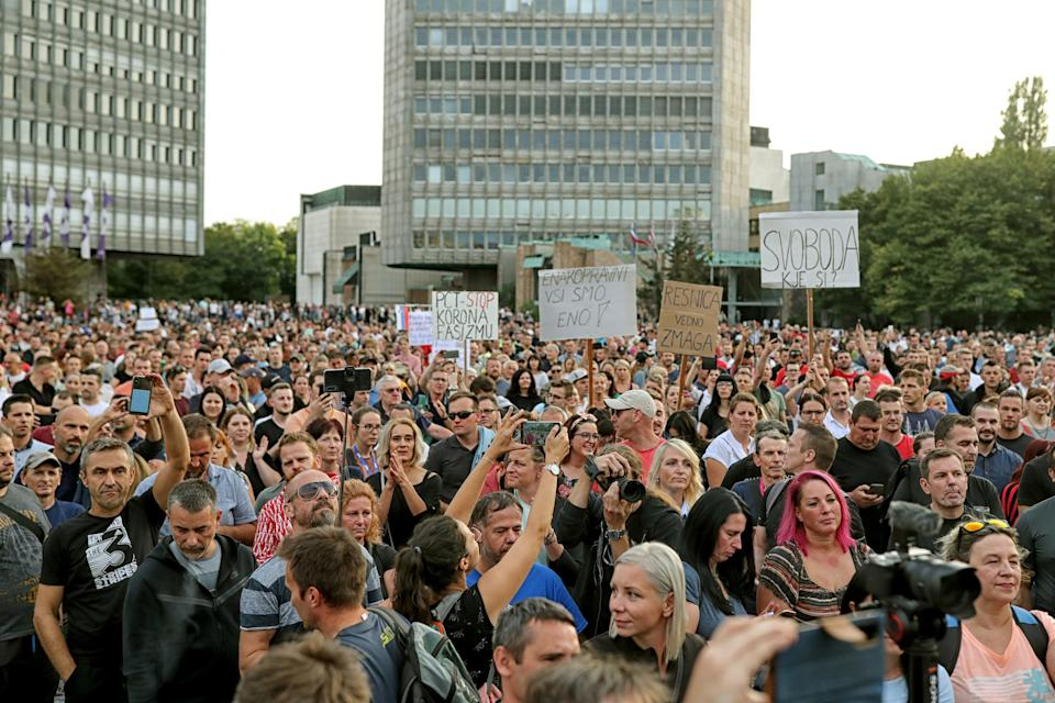 Slovenia Virus Outbreak Protest (Copyright 2021 The Associated Press. All rights reserved)