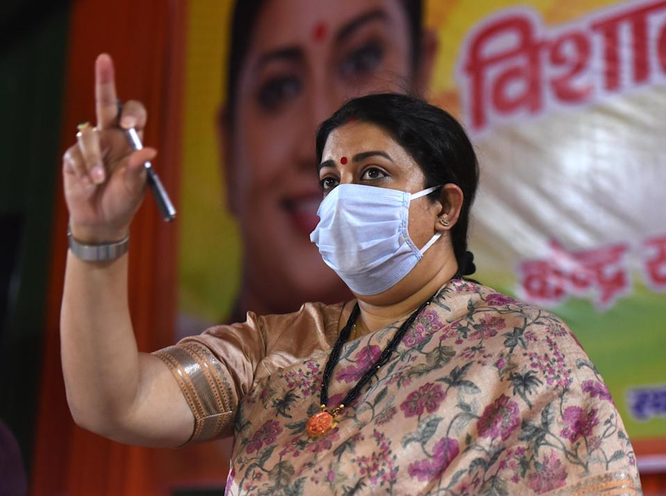 NEW DELHI, INDIA - JUNE 10:  Union Minister of Textiles and Minister of Women and Child Development Smriti Irani addresses the Uttarakhand Jan Samvad virtual rally from the Delhi BJP office at Pandit Pant Marg  on June 10, 2020 in New Delhi, India.  (Photo by Sonu Mehta/Hindustan Times via Getty Images)