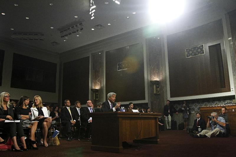 JPMorgan Chase CEO Jamie Dimon, head of the largest bank in the US, testifies on Capitol Hill in Washington, Wednesday, June 13, 2012, before the Senate Banking Committee about on how his company recently lost more than $2 billion on risky trades and whether its executives failed to properly manage those risks. (AP Photo/Haraz N. Ghanbari)