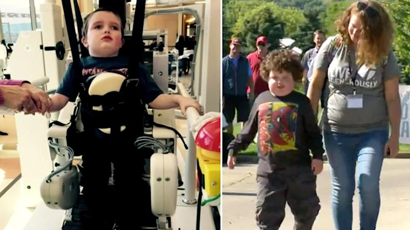 Quinn Larson after his accident in 2014 (left) and now with his mother in 2019 (right) Source: KARE 11