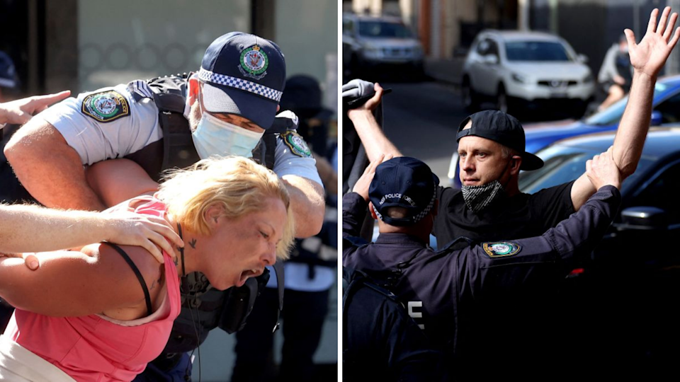 NSW Police detain protestors at Sydney's anti-lockdown rally on Saturday 21 August