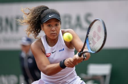 May 28, 2019; Paris, Naomi Osaka (JPN) in action during her match against Anna Schmiedlova (SVK) on day three of the 2019 French Open at Stade Roland Garros. Mandatory Credit: Susan Mullane-USA TODAY Sports