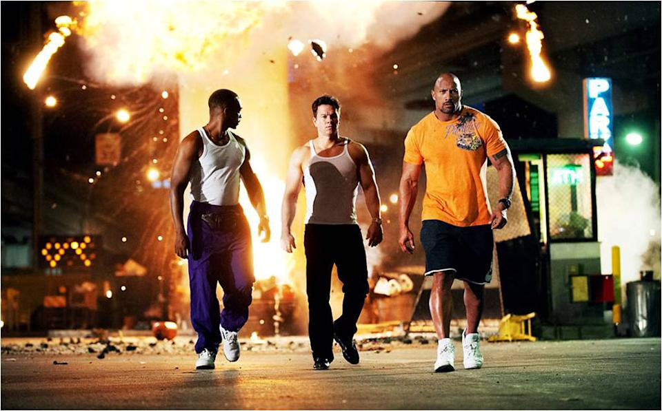 """Anthony Mackie, Mark Wahlberg and Dwayne Johnson in Paramount Pictures' """"Pain & Gain"""" - 2013"""