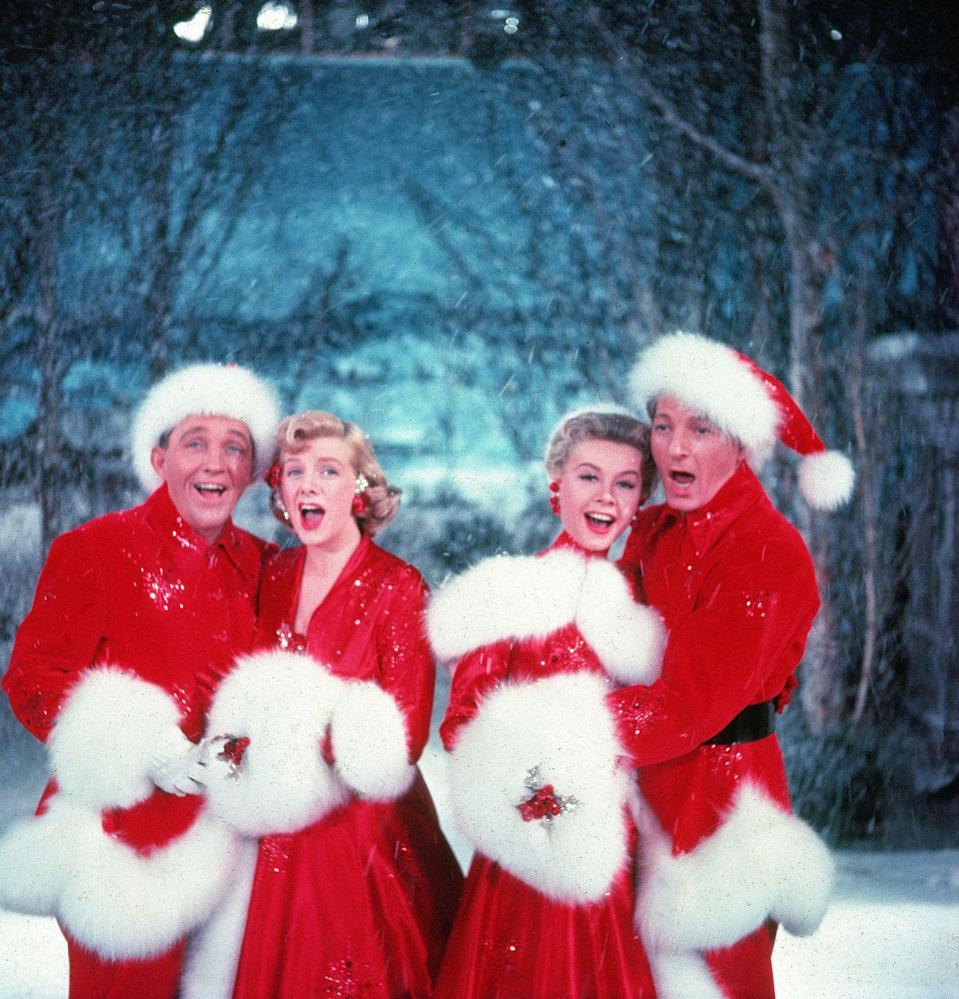 <p>Bing Crosby, Rosemary Clooney, Vera-Ellen and Danny Kaye joined their musical, dance, and acting talents together for the Christmas classic <em>White Christmas </em>in 1954. </p>