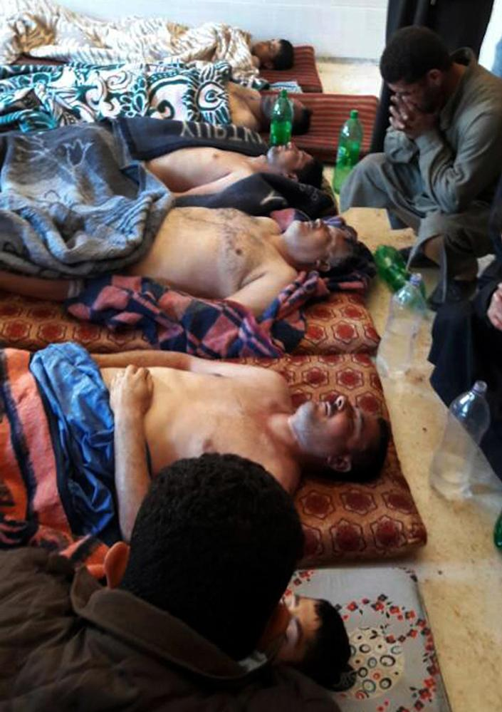 <p>In this picture taken on Tuesday April 4, 2017, victims of the suspected chemical weapons attack lie on the ground, in Khan Sheikhoun in the northern province of Idlib, Syria. The death toll from a suspected chemical attack on a northern Syrian town rose to 72 on Wednesday as activists and rescue workers found more terrified survivors hiding in shelters near the site of the harrowing assault, one of the deadliest in Syria's civil war. (Alaa Alyousef via AP) </p>