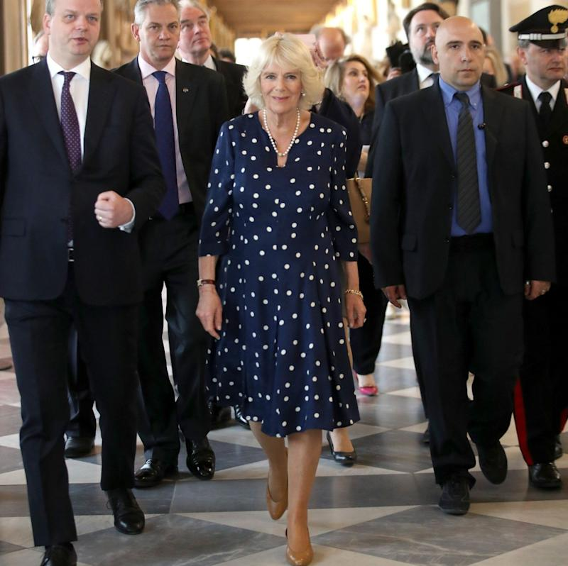 Duchess of Cornwall is shown around by Dr Eike Schmidt (left), director of the Uffizi Gallery - Credit: Chris Jackson/PA