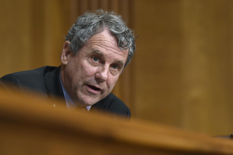 Sen. Sherrod Brown, D-Ohio, speaks during a Senate Finance Committee hearing with pharmacy benefit managers on Capitol Hill in Washington, Tuesday, April 9, 2019, exploring the high cost of prescription drugs. (AP Photo/Susan Walsh)
