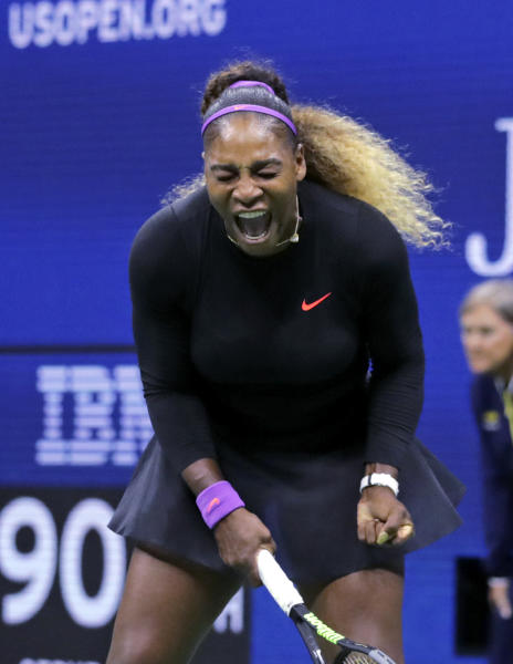 Serena Williams, of the United States, screams after winning a point against Caty McNally, of the United States, during the second round of the U.S. Open tennis tournament in New York, Wednesday, Aug. 28, 2019. (AP Photo/Charles Krupa)