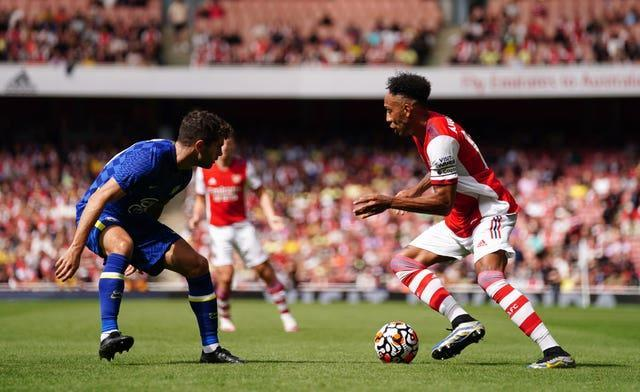 Pierre-Emerick Aubameyang (right) in action for Arsenal