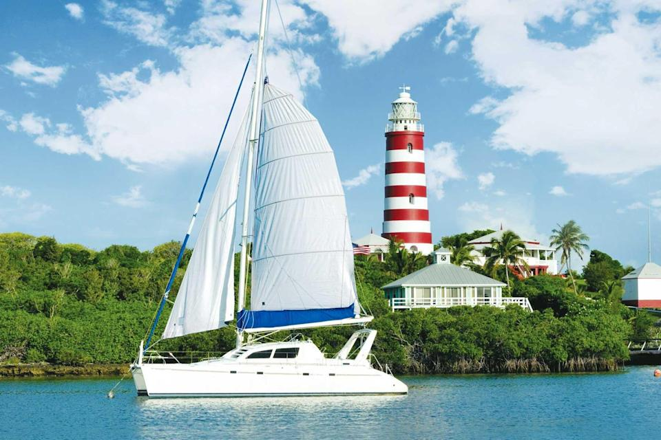 Hope Town Lighthouse in the Abacos, Bahamas