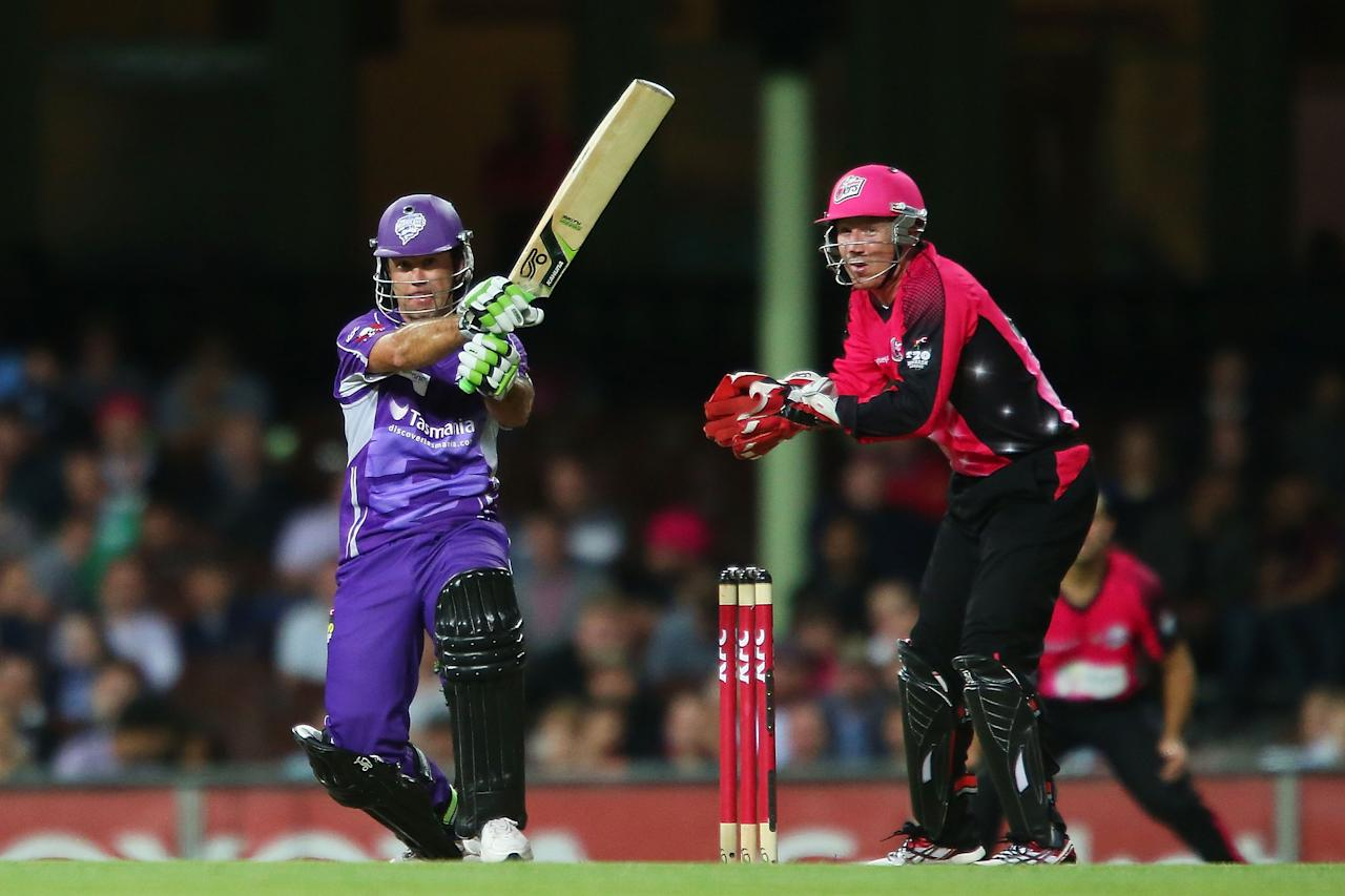 SYDNEY, AUSTRALIA - DECEMBER 26:  Ricky Ponting of the Hurricanes bats during the Big Bash League match between the Sydney Sixers and the Hobart Hurricanes at SCG on December 26, 2012 in Sydney, Australia.  (Photo by Brendon Thorne/Getty Images)