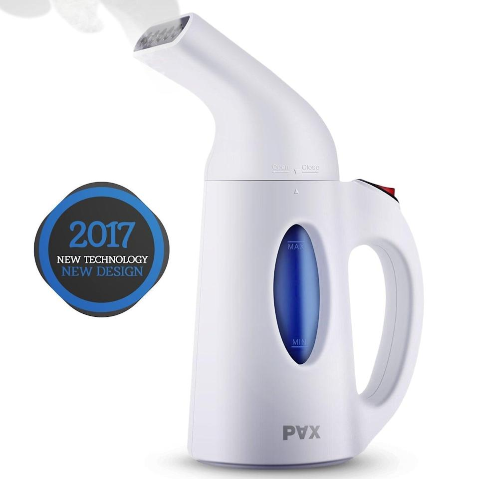 """<p>Using a steamer on your clothes will save you the money and the hassle of going to a dry cleaner. This portable <a href=""""https://www.popsugar.com/buy/Pax-Clothes-Steamer-108752?p_name=Pax%20Clothes%20Steamer&retailer=amazon.com&pid=108752&price=22&evar1=geek%3Aus&evar9=36026397&evar98=https%3A%2F%2Fwww.popsugar.com%2Ftech%2Fphoto-gallery%2F36026397%2Fimage%2F45606313%2FGarment-Steamer&list1=gifts%2Cgift%20guide%2Cdigital%20life%2Ctech%20gifts%2Cgifts%20for%20men&prop13=mobile&pdata=1"""" class=""""link rapid-noclick-resp"""" rel=""""nofollow noopener"""" target=""""_blank"""" data-ylk=""""slk:Pax Clothes Steamer"""">Pax Clothes Steamer</a> ($22) presses clothes on a hanger and heats up in just 60 seconds.</p>"""