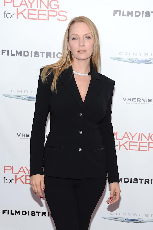 "NEW YORK, NY - DECEMBER 05:  Actress Uma Thurman attends Film District And Chrysler With The Cinema Society Premiere Of ""Playing For Keeps"" at AMC Lincoln Square Theater on December 5, 2012 in New York City.  (Photo by Andrew H. Walker/Getty Images)"