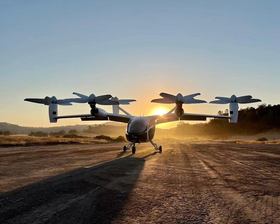 An eVTOL aircraft from Joby Aviation, a Santa Cruz, California-based firm that has created an all-electric medium range helicopter it plans to use to offer Uber-like rides on demand.  (Courtesy of Joby Aviation)