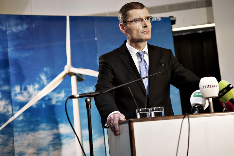 FILE - In this Oct. 26, 2010, file photo, Vestas's CEO Ditlev Engels.  Vestas A/S, the world's biggest maker of wind turbines in terms of revenues, said Thursday Jan. 12, 2012  it will lay off around 2,300 employees, mainly in Denmark, because of a market downturn caused by the financial crisis. (AP Photo/Stine Bidstrup, Polfoto, File) DENMARK OUT