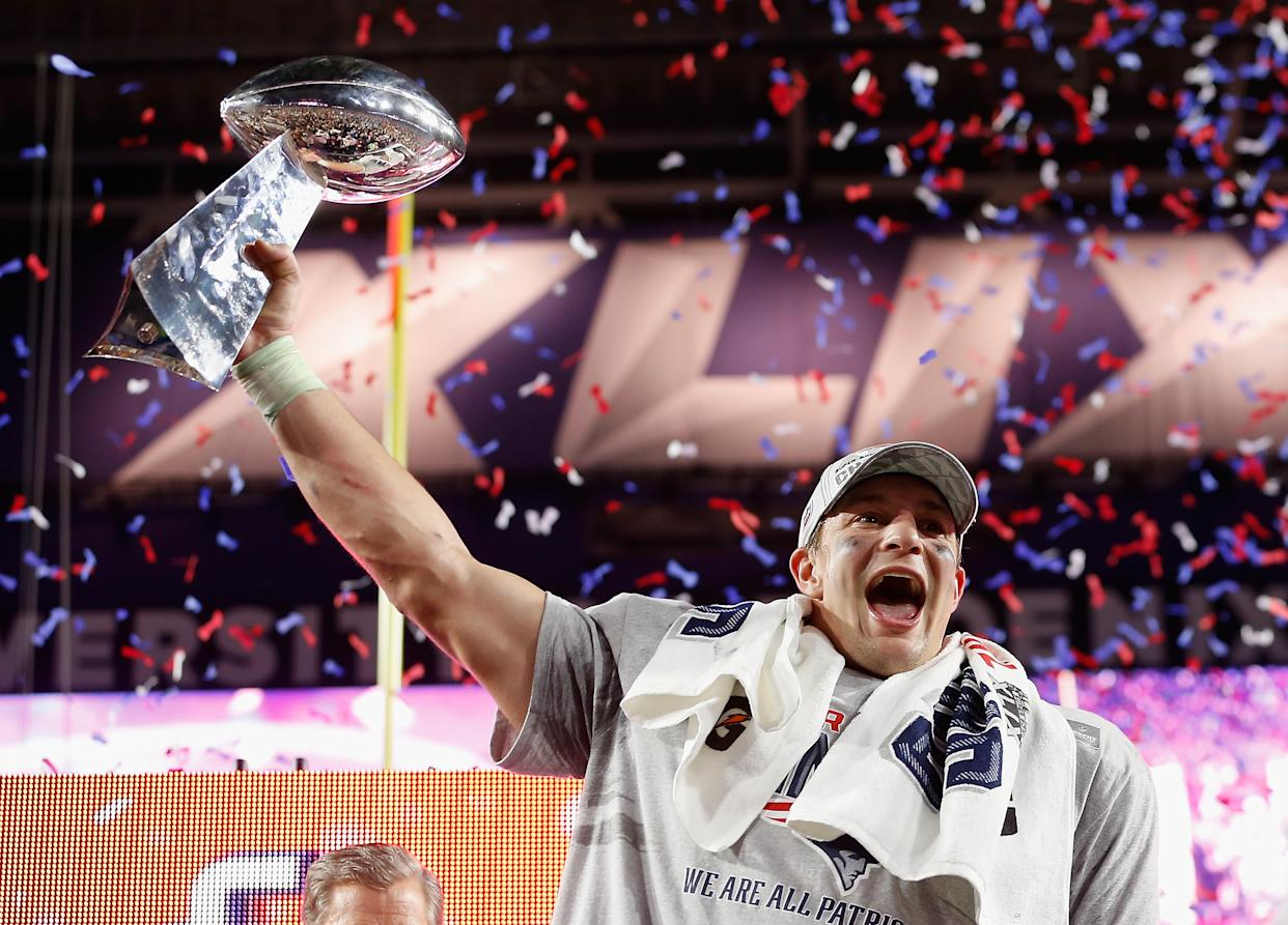 """<span class=""""article-embeddable-caption"""">Patriots tight end Rob Gronkowski celebrates the team's 2015 Super Bowl win. (</span><cite class=""""article-embeddable-attribution"""">Photo by Christian Petersen/Getty Images)</cite>"""