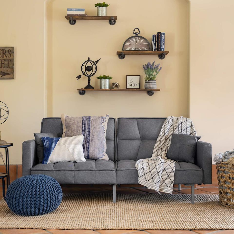 <p>If you love modern designs, try the <span>Best Choice Products Convertible Linen Tufted Split-Back Futon Sofa</span> ($265).</p>