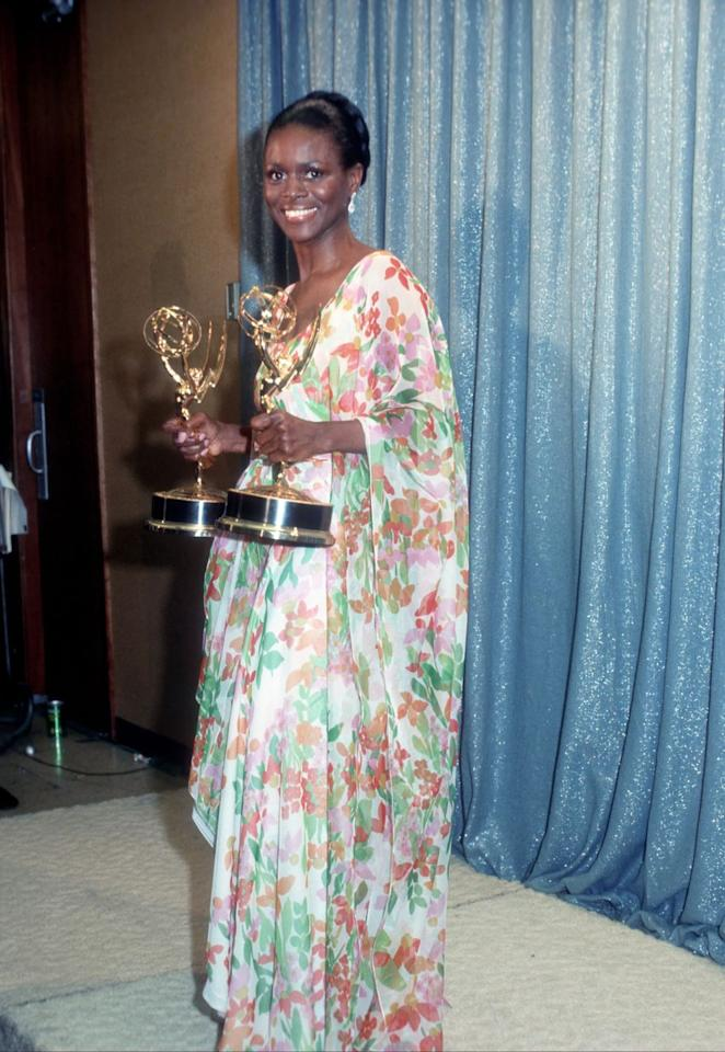 <p>Few clothing items were groovier than the actress's multi-colored floral gown, which complemented her two Emmys oh-so-well. </p>