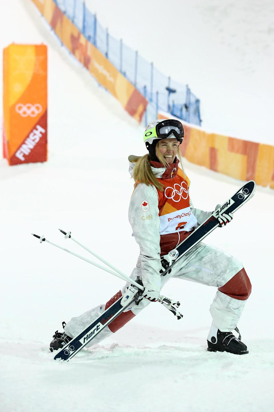 <p>Justine Dufour-Lapointe of Canada celebrates winning silver during the Freestyle Skiing Ladies' Moguls Final on day two of the PyeongChang 2018 Winter Olympic Games at Phoenix Snow Park on February 11, 2018 in Pyeongchang-gun, South Korea. (Photo by Cameron Spencer/Getty Images) </p>