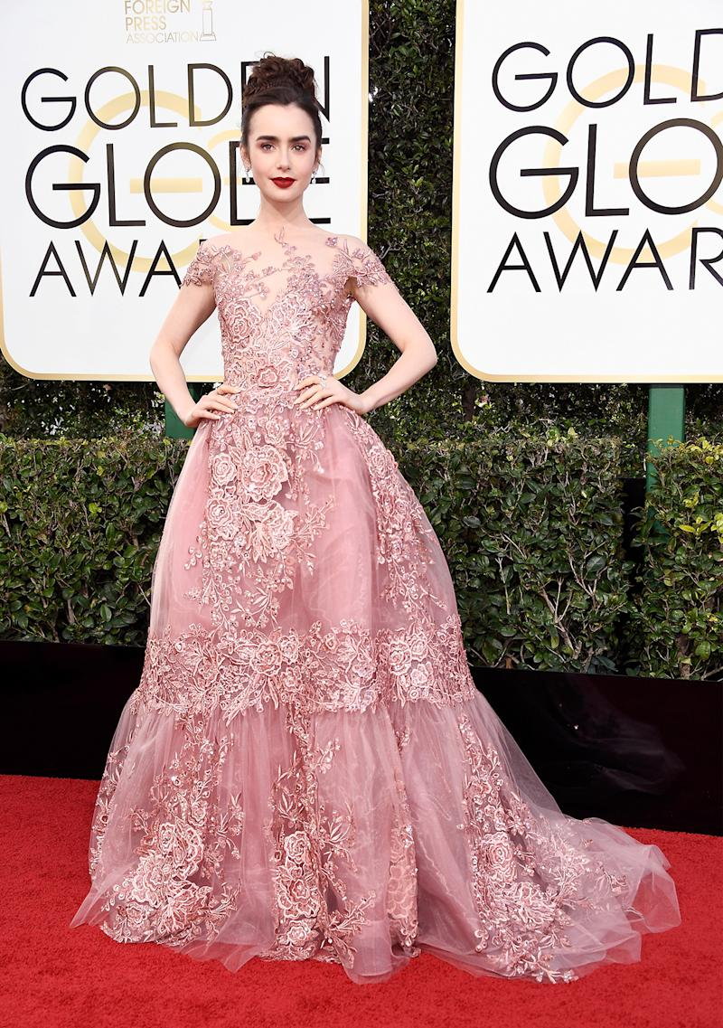Actress Lily Collins attends the 74th Annual Golden Globe Awards at The Beverly Hilton Hotel on January 8, 2017 in Beverly Hills, California. (Photo: Getty Images)