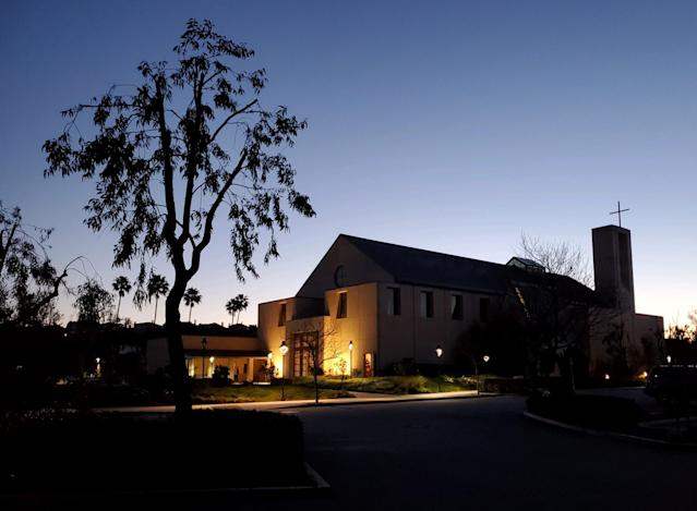 The morning he died, Kobe Bryant visited Our Lady Queen of Angels Church in Newport Beach, California, where he and has family attended mass regularly. (Jeff Eisenberg/Yahoo Sports)