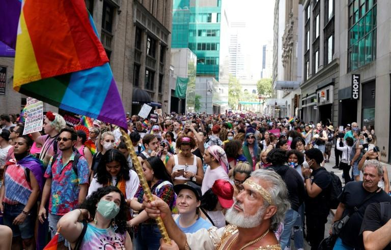 People gather for the 3rd annual Queer Liberation March in New York on June 27, 2021