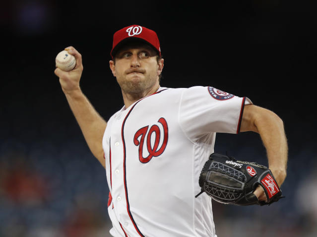 "Nationals pitcher <a class=""link rapid-noclick-resp"" href=""/mlb/players/8193/"" data-ylk=""slk:Max Scherzer"">Max Scherzer</a> and his wife, Erica, are doing their part to make sure pets displaced by Hurriance Harvey are well taken care of. (AP)"