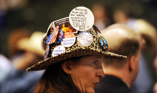 Colorado Delegate, Kendal Unruh, from Castle Rock Colorado, sports several buttons on her hat on the first day of the 2008 Republican National Convention at the Excel Energy Center in St. Paul, MN in 2008. (Photo: Andy Cross/The Denver Post via Getty Images)
