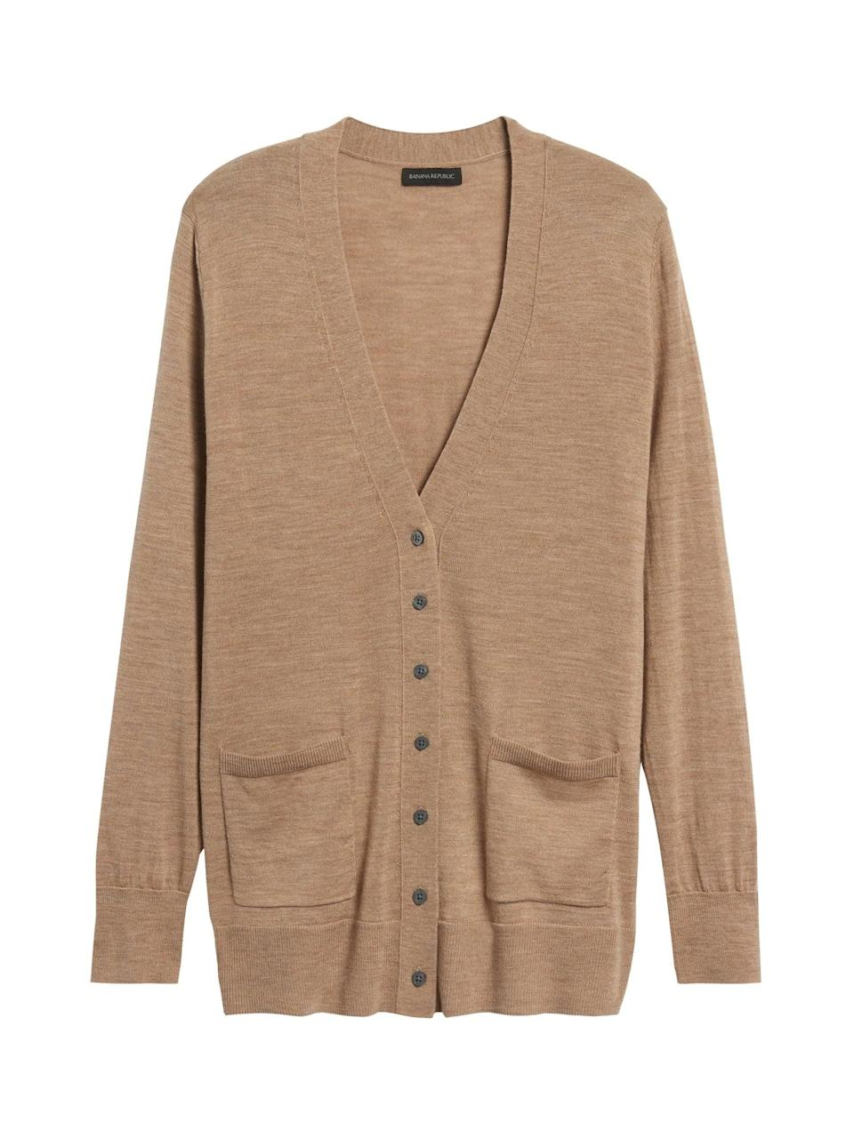 <p>This <span>Merino Long Cardigan Sweater</span> ($67, originally $85) is cut from 100% extra-fine Merino wool, and is actually machine washable.</p>
