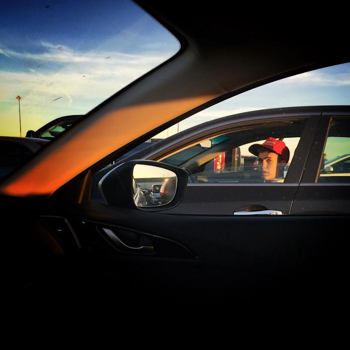<p>A Trump supporter sits in traffic after a campaign rally, June 1, Sacramento, Calif. (Photo: Holly Bailey/Yahoo News) </p>