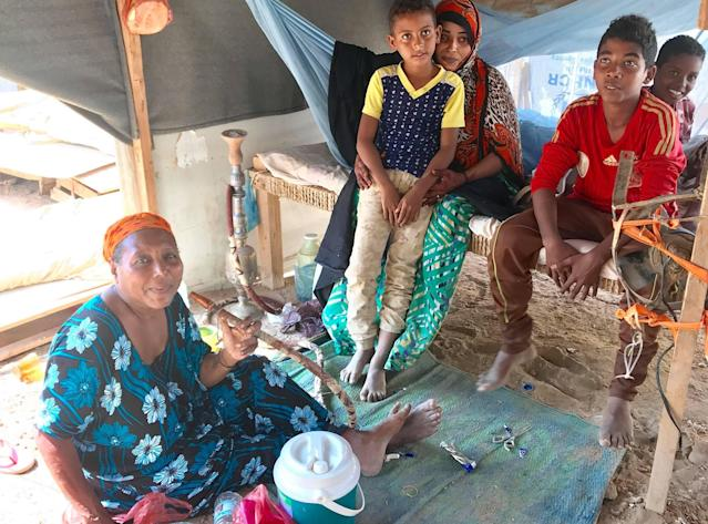 Nima Ahmed of Mocha, Yemen, is living with her children and grandchildren at the Markazi refugee camp in Djibouti. (Photo: United Nations High Commissioner for Refugees)