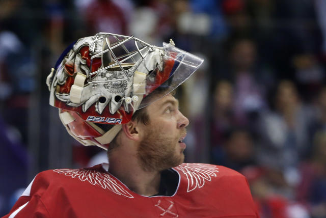 Russia goaltender Semyon Varlamov reacts after a second period goal by Finland during a men's quarterfinal ice hockey game at the 2014 Winter Olympics, Wednesday, Feb. 19, 2014, in Sochi, Russia