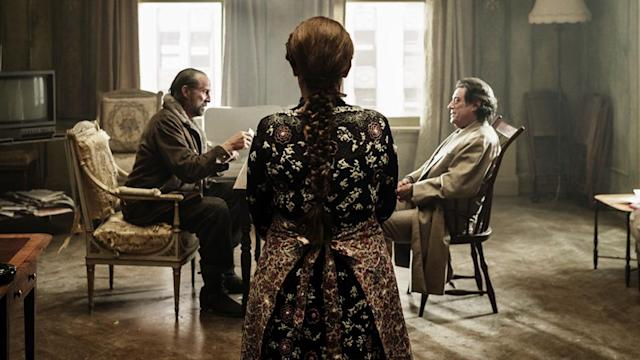 <p>Peter Stormare as Czernobog and Ian McShane as Mr Wednesday in Starz' <i>American Gods</i>.<br><br>(Photo: Starz) </p>