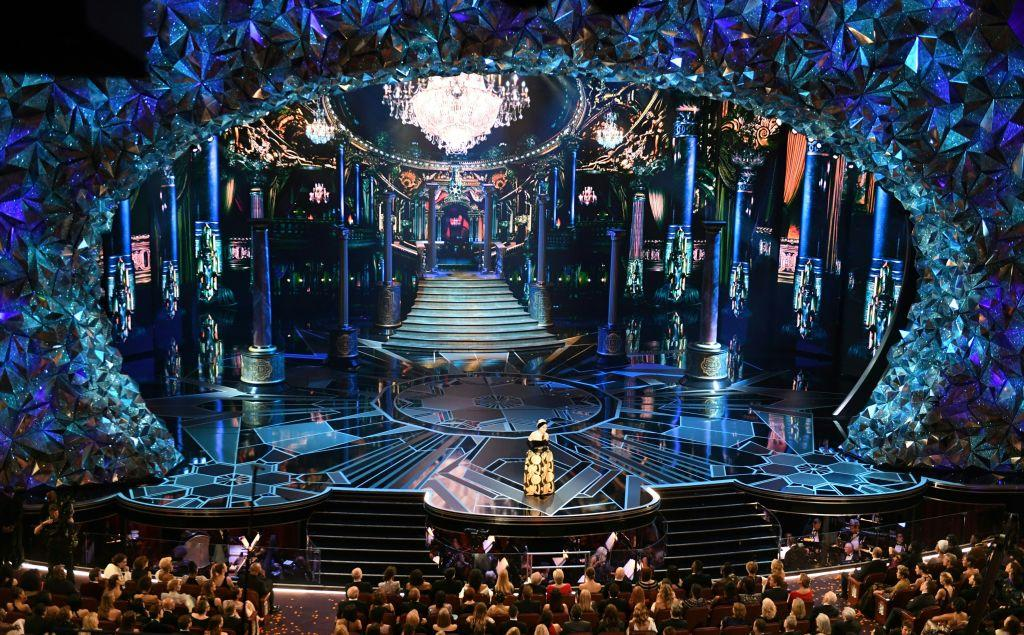 <p>Actress Rita Moreno delivers a speech on stage before presenting the Oscar for Best Foreign Language Film during the 90th Annual Academy Awards show in Hollywood, California. (Mark Ralston/AFP/Getty Images) </p>