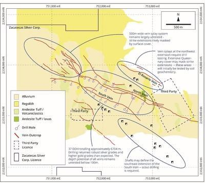 Figure 3 - Muleros Vein System (CNW Group/Zacatecas Silver Corp.)
