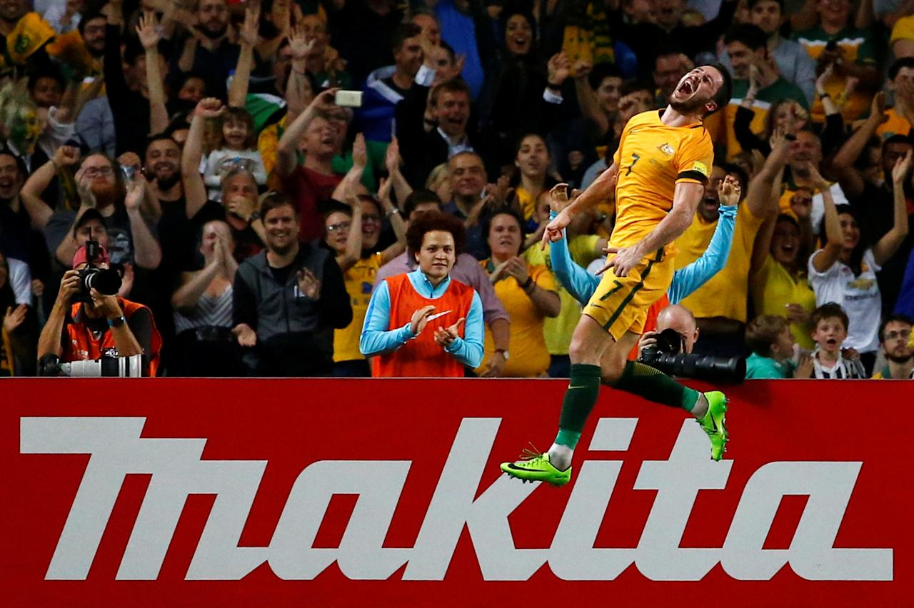 Football Soccer - Australia vs United Arab Emirates - 2018 World Cup Qualifying Asian Zone - Group B - Sydney Football Stadium, Sydney, Australia - 28/3/17 - Australia's Mathew Leckie celebrates after scoring a goal against UAE.  REUTERS/David Gray     TPX IMAGES OF THE DAY