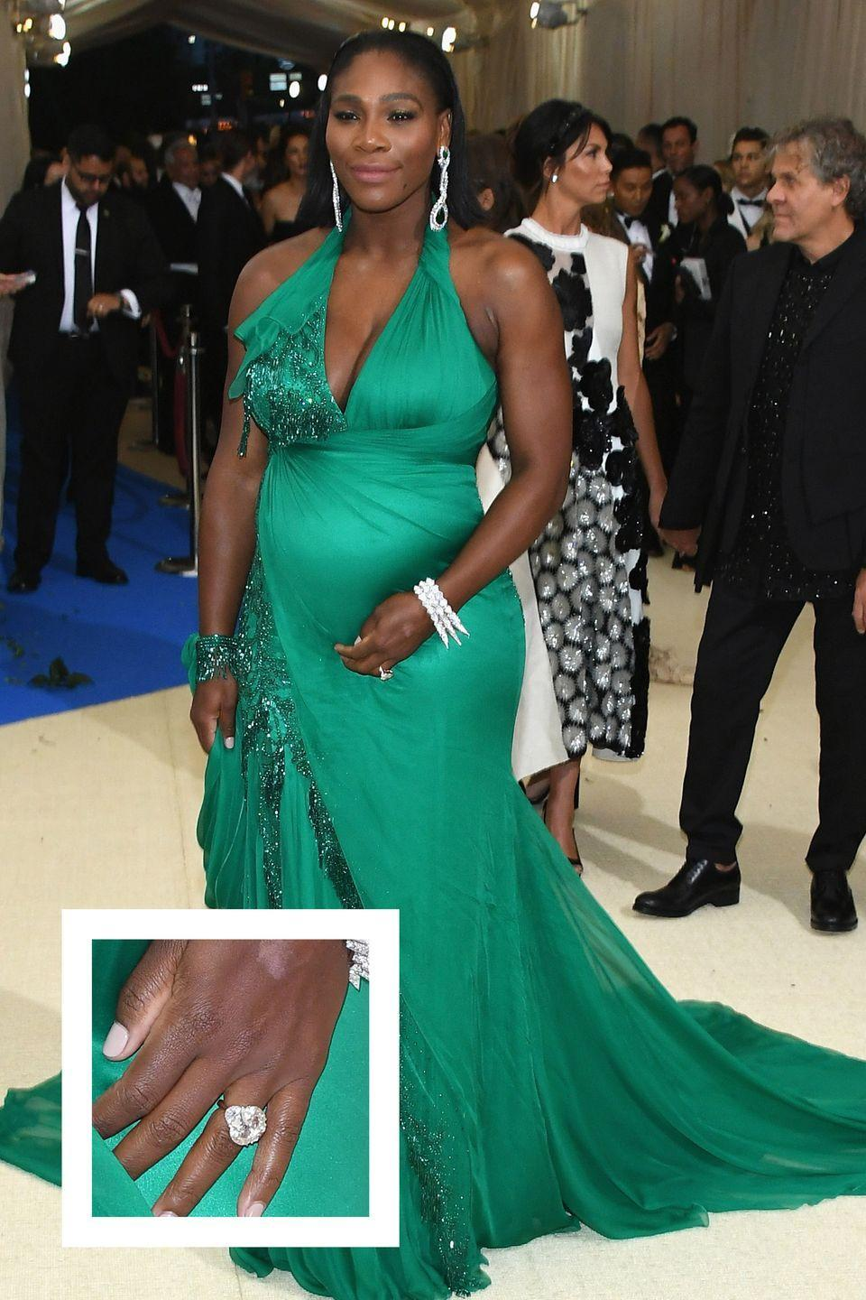"""<p><a href=""""https://www.townandcountrymag.com/leisure/sporting/news/g1332/serena-williams-facts/"""" rel=""""nofollow noopener"""" target=""""_blank"""" data-ylk=""""slk:The tennis star"""" class=""""link rapid-noclick-resp"""">The tennis star</a> announced her engagement to Reddit co-founder Alexis Ohanian in late December 2016, and debuted her sparkler just a few weeks later. The massive emerald-cut diamond is estimate to be over 10-carats, <a href=""""http://www.businessinsider.com/serena-williams-engagement-ring-reddit-2017-1"""" rel=""""nofollow noopener"""" target=""""_blank"""" data-ylk=""""slk:Business Insider reports."""" class=""""link rapid-noclick-resp""""><em>Business Insider </em>reports.</a></p>"""