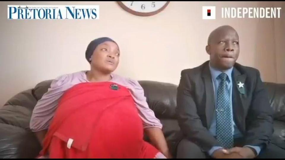 A still of mother Gosiame Thamara Sithole and Tebogo Tsotetsi, before the alleged birth of 10 babies (Screengrab/ Pretoria News/Independent Media/Twitter)