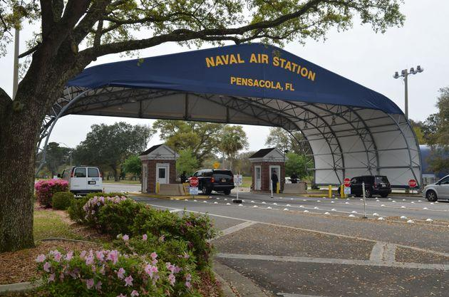 The main gate at Naval Air Station Pensacola is seen on Navy Boulevard in Pensacola, Florida, U.S. March 16, 2016. Picture taken March 16, 2016. U.S. Navy/Patrick Nichols/Handout via REUTERS. THIS IMAGE HAS BEEN SUPPLIED BY A THIRD PARTY.