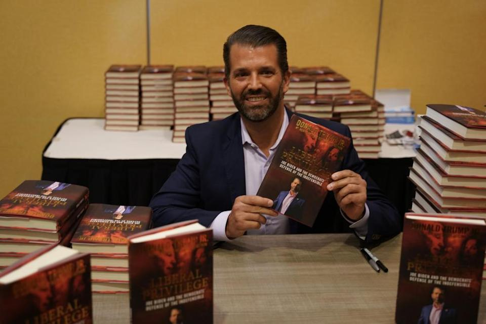 Donald Trump Jr attends a book signing at Marriot Hotel to promote his book 'Liberal Privilege' in Long Island, New York, on 18 October.
