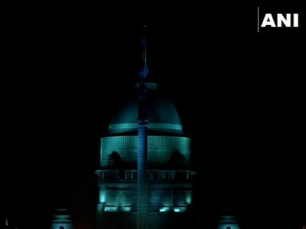 Rashtrapati Bhawan illuminated with blue lights on World Children's Day. (Photo/ANI)