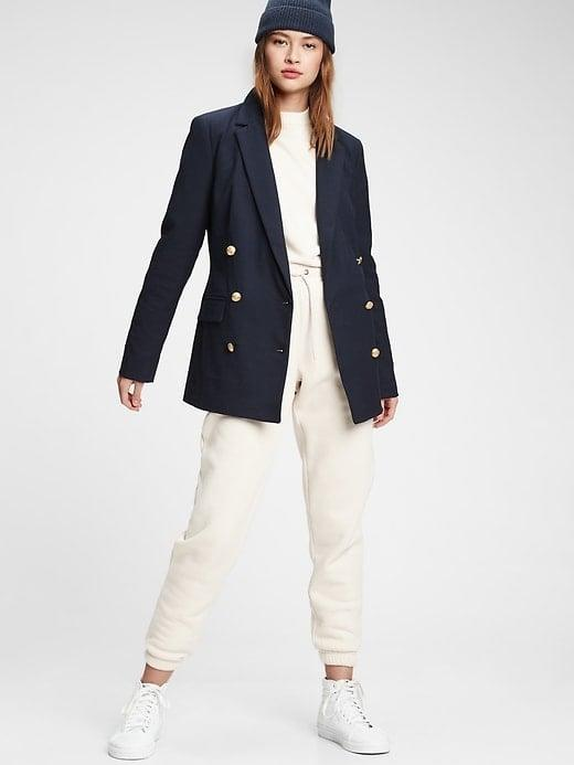 <p>This <span>Gap Double-Breasted Blazer</span> ($64, originally $128) is so chic.</p>