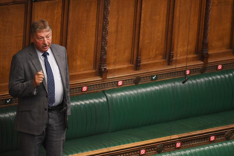 DUP politician Sammy Wilson addresses the house of commons (PA)