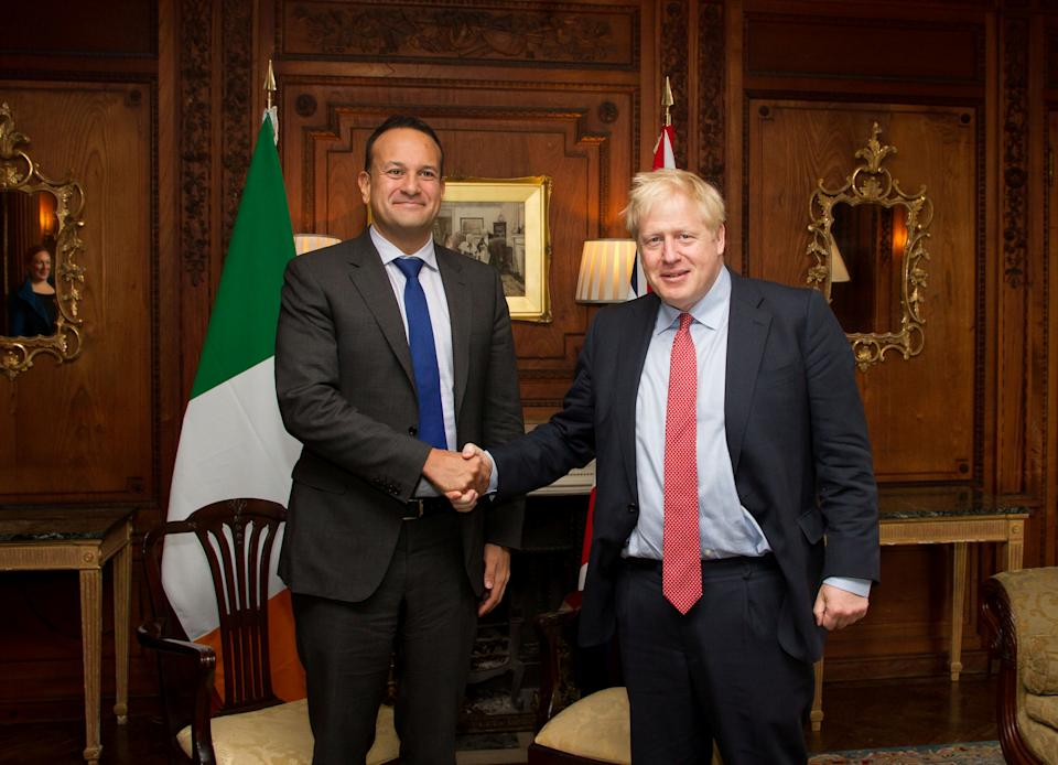Ireland's Prime Minister (Taoiseach) Leo Varadkar and British Prime Minister Boris Johnson meet in Thornton Manor, Cheshire, Britain October 10, 2019. Noel Mullen/Handout via REUTERS THIS IMAGE HAS BEEN SUPPLIED BY A THIRD PARTY. MANDATORY CREDIT.