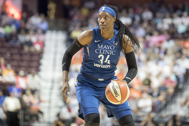 "<a class=""link rapid-noclick-resp"" href=""/wnba/players/4396/"" data-ylk=""slk:Sylvia Fowles"">Sylvia Fowles</a> broke Lisa Leslie's double-double record on Sunday night while leading the Lynx past the Mercury. (Tim Clayton/Getty Images)"