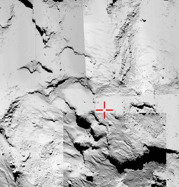 A photo released on November 13, 2014 by the European Space Agency shows a five-image montage of OSIRIS narrow-angle images used to try to identify the final touchdown point of Rosetta's lander Philae (AFP Photo/)