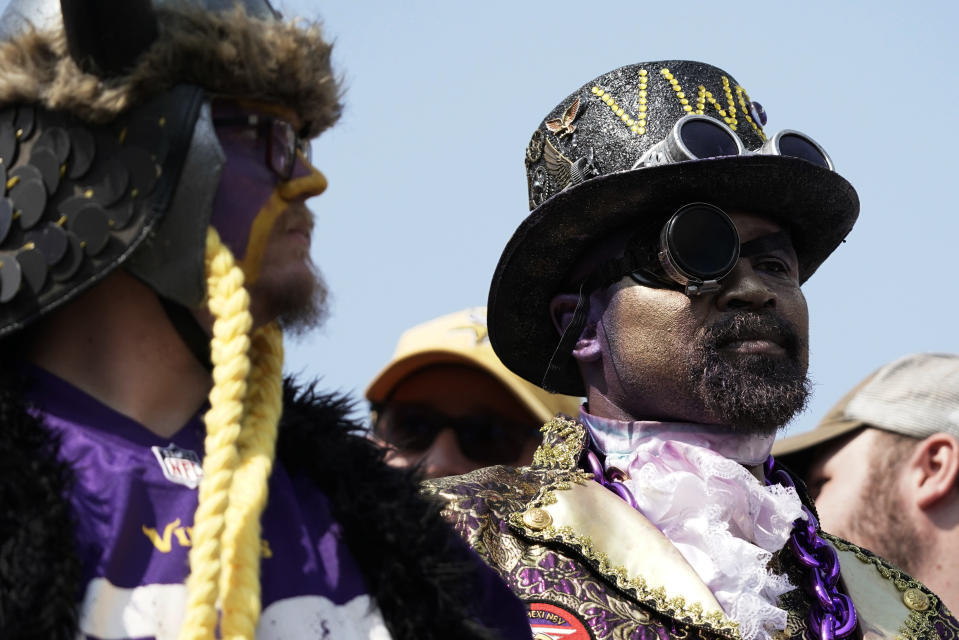 Fans watch during the second half of an NFL football game between the Cincinnati Bengals and the Minnesota Vikings, Sunday, Sept. 12, 2021, in Cincinnati. (AP Photo/Jeff Dean)
