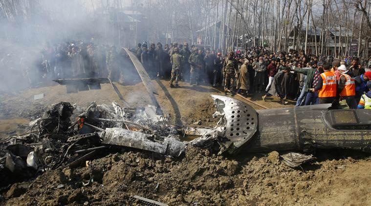 An IAF Mi-17 chopper crashed in Budgam area of Jammu and Kashmir on Wednesday. (Express photo/Shuaib Masoodi)