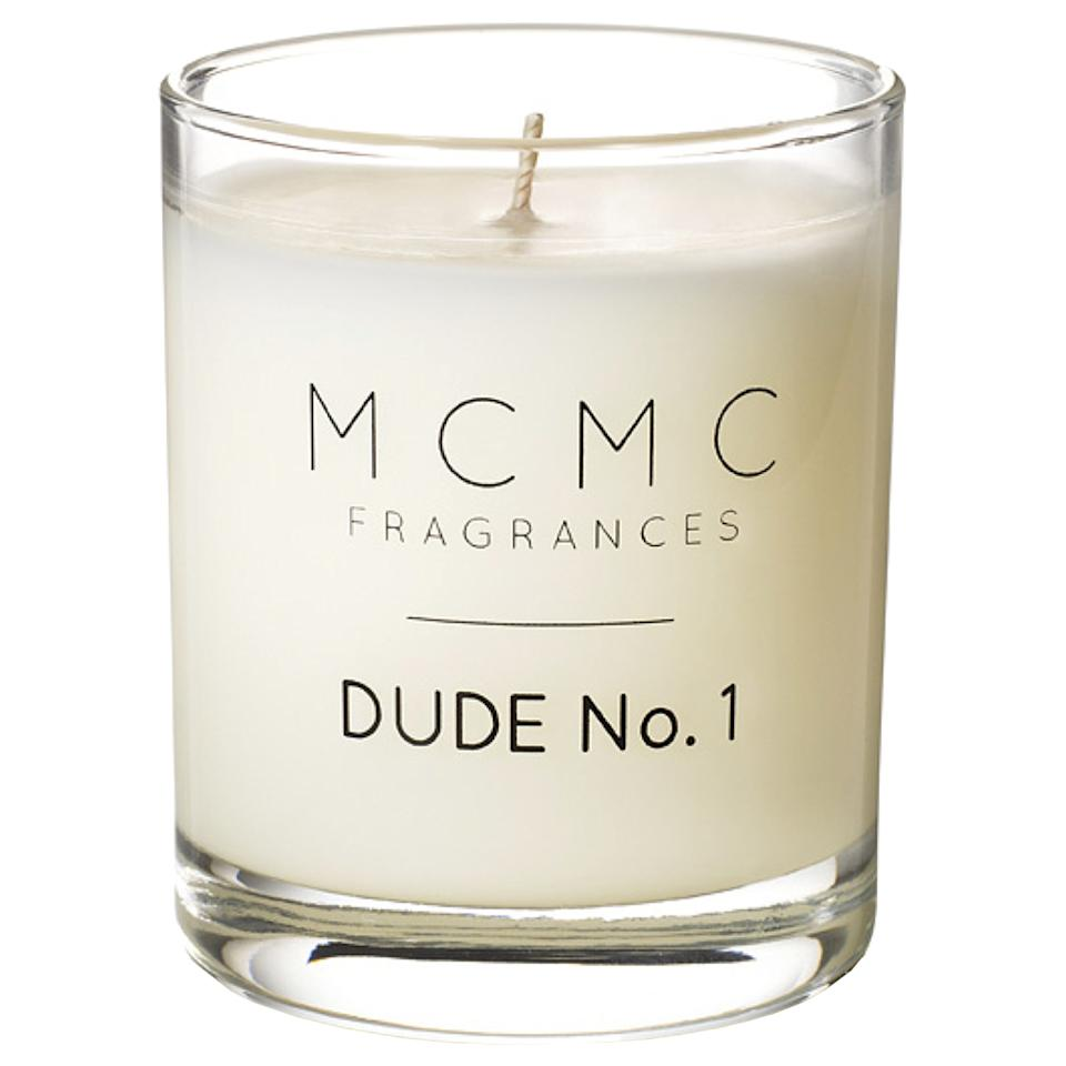 """<p>If the note compilation of Virginia cedarwood, green coriander, and pink peppercorn, doesn't get him, the name of this soy candle surely will. I mean, Dude No. 1? </p> <p>$48 